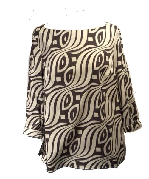 Blusa in tessuto di cotone Fantasia Manica 3/4 NIU'
