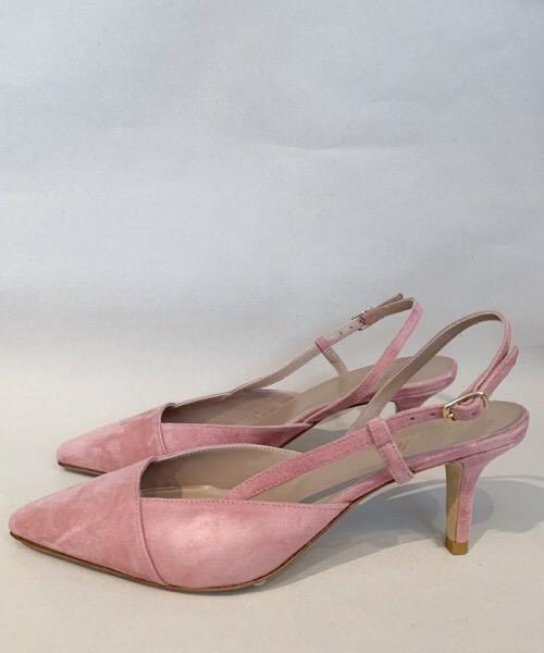 Ballerina Cheville in pelle a punta rosa